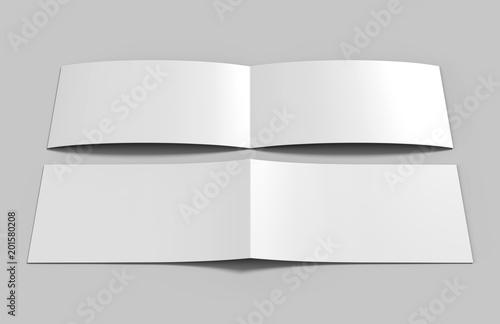 Staande foto Bleke violet Landscape brochure blank white template for mock up and presentation design. 3d illustration.
