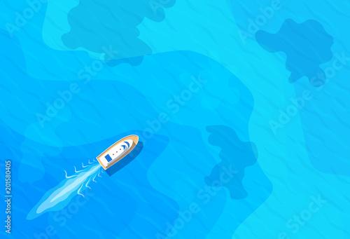 Fotografia  boat sailing in blue sea top aerieal view