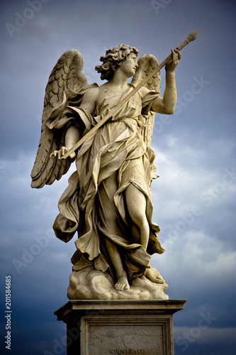 Bernini's marble statue of angel with cross from the Sant'Angelo Bridge in Rome, Canvas Print
