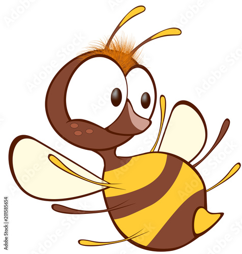 Papiers peints Chambre bébé Illustration of a Cute Yellow Bee. Cartoon Character