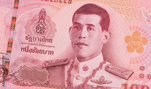 Obraz na plátne Close up of new 100 Thai baht banknote