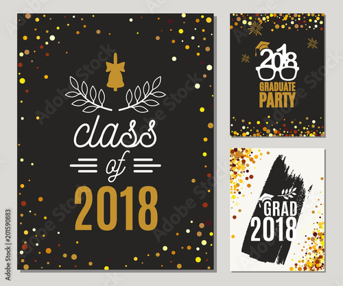 Graduation Cl Of 2018 Greeting Cards Set With Golden Glitter Vector Graduate Party Invitations Grad Posters All Isolated And Layered