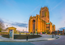 View Of The Liverpool Cathedral During Sunset, England
