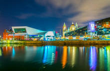 Waterside Of Liverpool Dominated By The Museum Of Liverpool An The Pilotage House, England