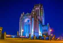 Night View Of The Liverpool Cathedral, England
