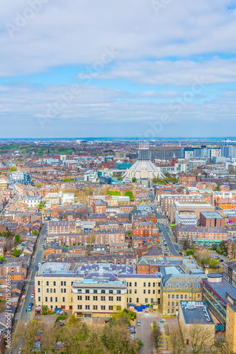 Garden Poster Vienna Aerial view of Liverpool including the metropolitan cathedral, England