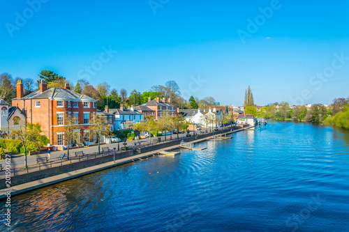 Canvas View of residential houses alongside river Dee in Chester, England