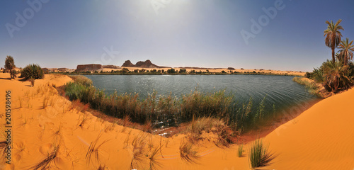 Fresh Water Lake Bokou in Ouniaga Serir series of lakes in the Sahara Desert, Chad