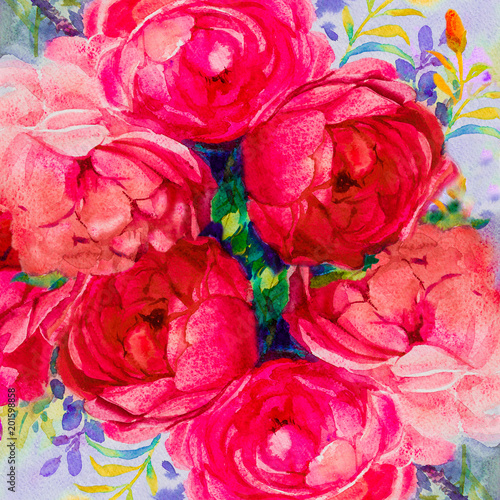 Cadres-photo bureau Rose banbon Painting art watercolor landscape pink,yellow color of the roses.