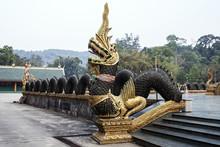 Naga Tile Golden Green Color Holy Thai Buddhism Wat Phraphutthabat Si Roi Thailand