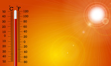 Very Hot Sun And Thermometer