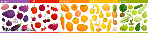 Poster Cuisine Set of multicolored fruits and vegetables assorted by colors. Vector illustration Food of different colors. Edible rainbow.