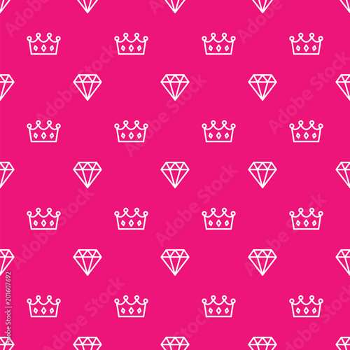 Pattern Royal Crown And Diamond Outline On Pink Background King And