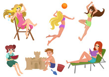 Vector Set Of Beautiful Pretty Summer Woman Beach Actions. Girl Relaxing, Reading, Playing Volleyball. Kids Building Sand Castle.