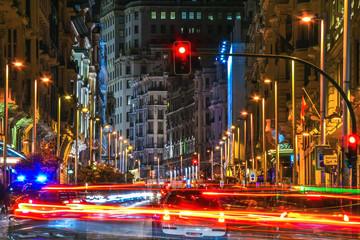 Madrid City Nightscape  (Gran Via - Alcala Street)