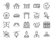 Singapore Trip Icon Set. Inclu...