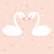 Cute Swans On Pink Background....
