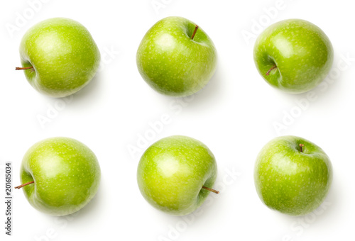 Green Apples Isolated on White Background Fototapete