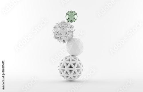 Fotografie, Obraz  Equilibrium of different stack ball, 3d rendering.