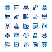 Hotel Services And Amenities Line Icons Set. Modern Graphic Design Concepts, Simple Symbols, Pictograms Collection. Minimal Thin Line Design. Premium Quality. Pixel Perfect. Vector Outline Icons