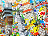 Fototapeta Młodzieżowe - Graffiti, City, an illustration of a large collage, with houses, cars and people