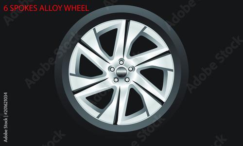 6 Spokes alloy wheel sharp and modern design. Fototapeta