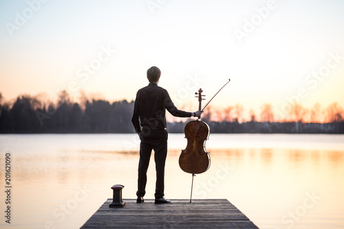 Cello cellist musician playing music as professional in summer while sunset, ver Fototapeta