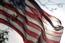 American Flag Waving Back-Lit ...