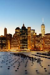Panel Szklany Podświetlane Nowy York New York City downtown waterfront dusk