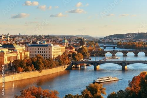 Fototapeta Prague skyline and bridge obraz na płótnie