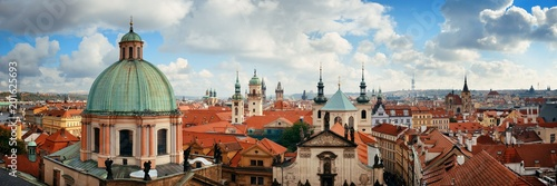 Prague skyline rooftop view dome Canvas Print