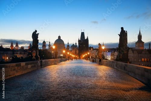 Poster Prague Charles Bridge at night