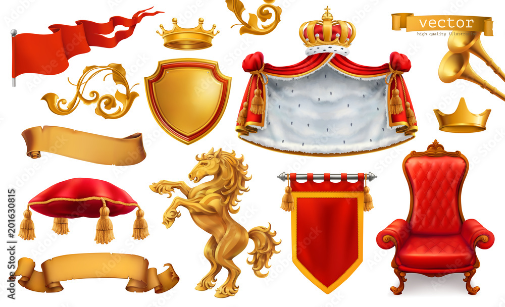 Fototapeta Gold crown of the king. Royal chair, mantle, pillow. 3d vector icon set