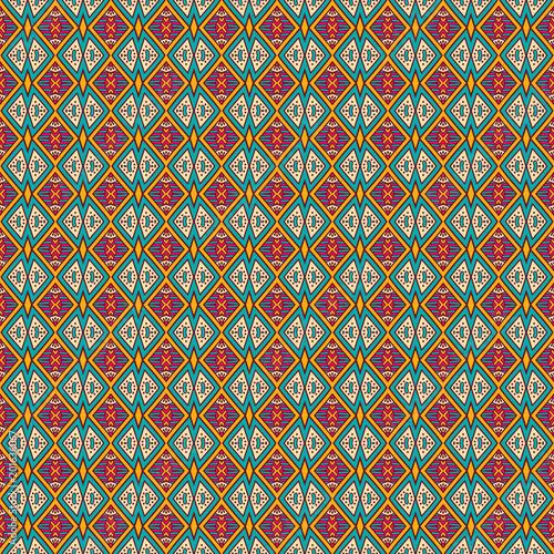Foto auf AluDibond Boho-Stil Ethnic geometric pattern in repeat. Fabric print. Seamless background, mosaic ornament, retro style.