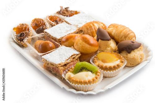 Papiers peints Assortiment Vassoio con vari mini desserts