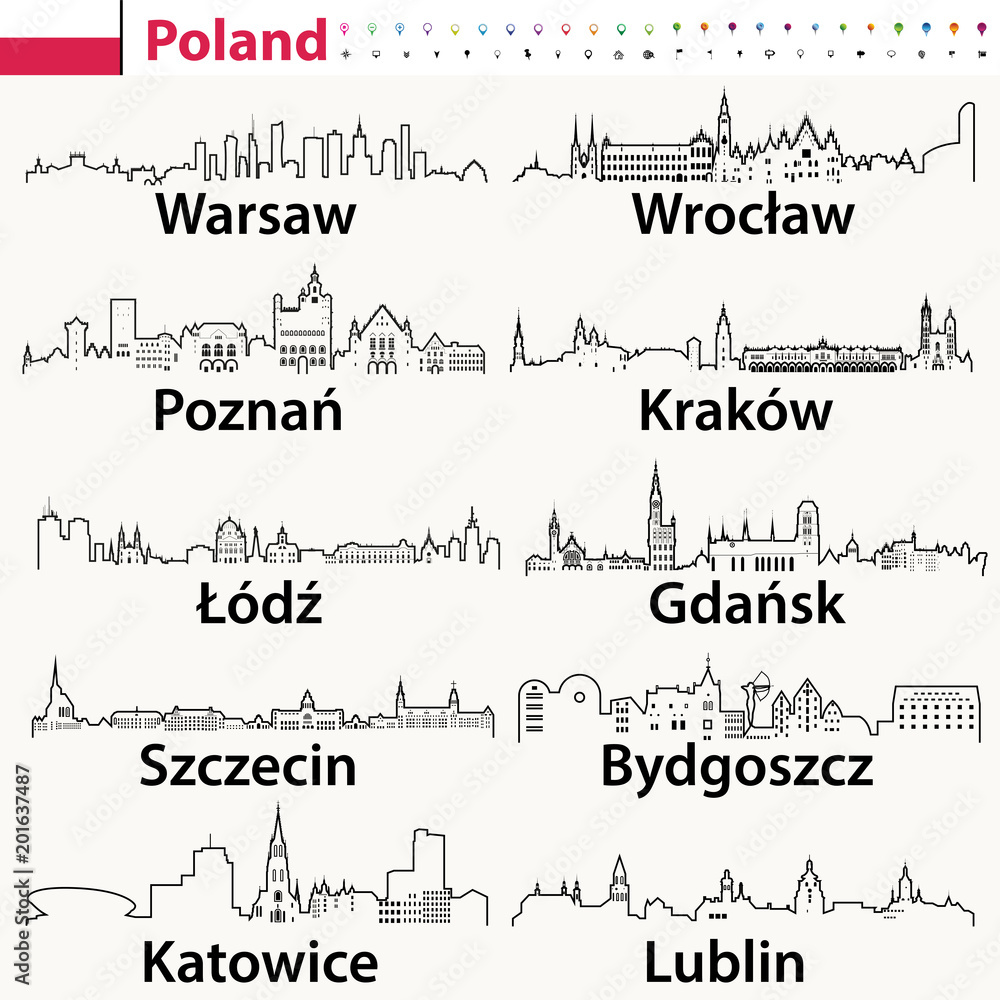 Fototapety, obrazy: vector outline icons of Poland cities skylines