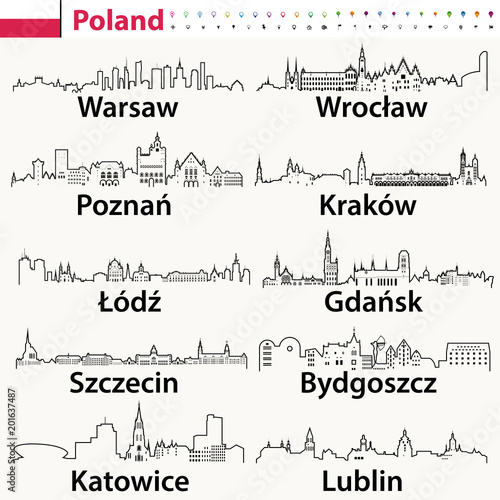 Fotografia  vector outline icons of Poland cities skylines