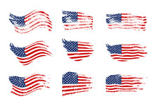 Vintage Waving USA Flag Set. V...