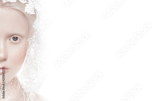 Photo A very delicate portrait of an albino girl, a white background, snowflakes in her hair, sparkles, a magical winter image