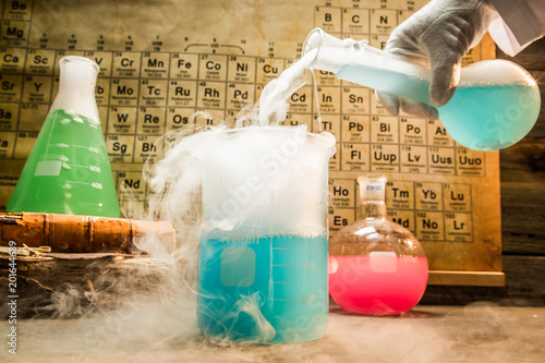 Photo Academic chemical lab with color beakers in school
