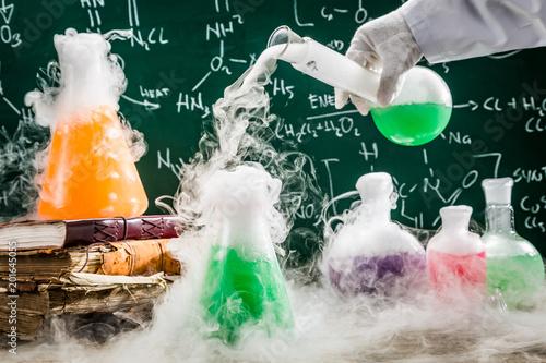 Testing new chemical formula in school laboratory