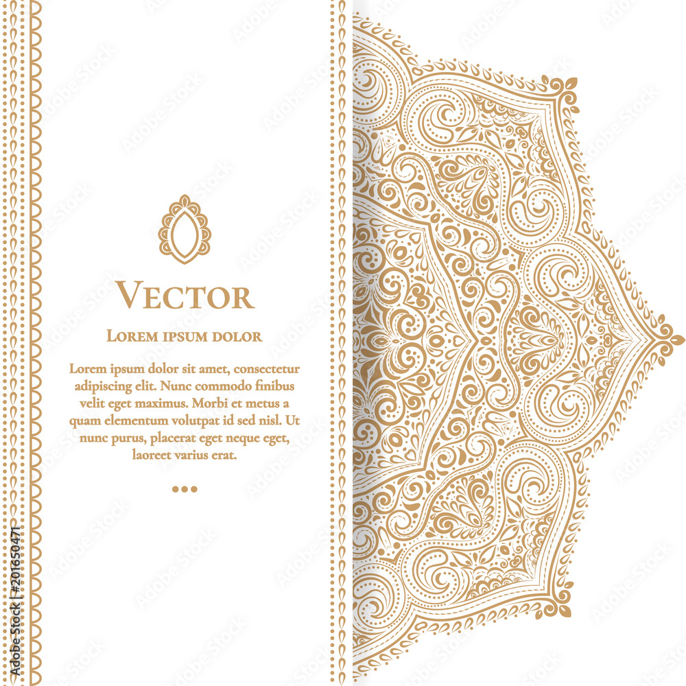 Fototapeta Gold vintage greeting card on a white background. Luxury ornament template. Mandala. Great for invitation, flyer, menu, brochure, postcard, background, wallpaper, decoration, or any desired idea