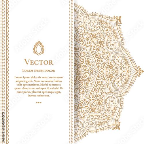 Fototapeta Gold vintage greeting card on a white background. Luxury ornament template. Mandala. Great for invitation, flyer, menu, brochure, postcard, background, wallpaper, decoration, or any desired idea obraz