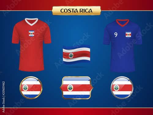 f2a0e7103a1 Football World Championship 2018 Costa Rica Jersey. Vector Country Flag.