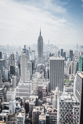 Fotomural View from rockefeller center plattform over big apple new york city at a light c