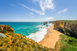 Bright sunny summer coast view to the wild Bass Strait, rocky erosion cliffs of the Great Ocean Road sandstone limestone formation 12 Twelve Apostels, Melbourne, Port Campbell National Park, Australia