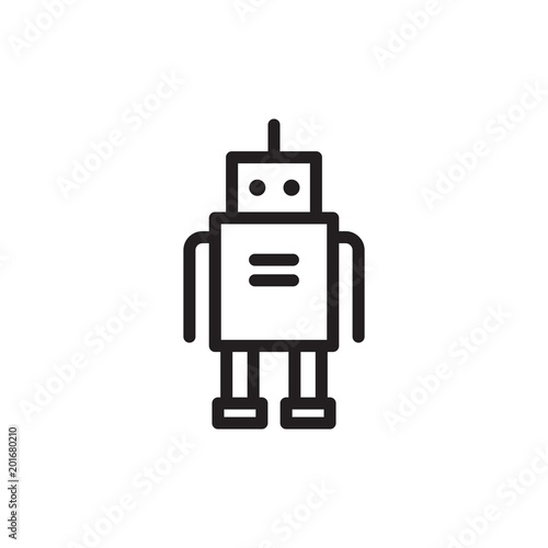 droid, robot outline vector icon  Modern simple isolated