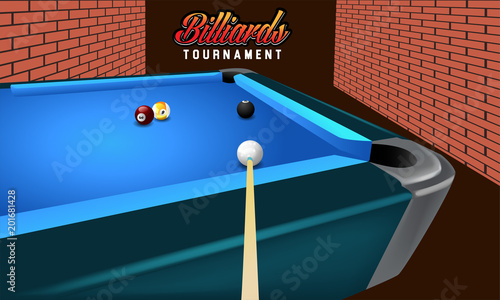 Fotografie, Obraz real vector billiard on table, view ball