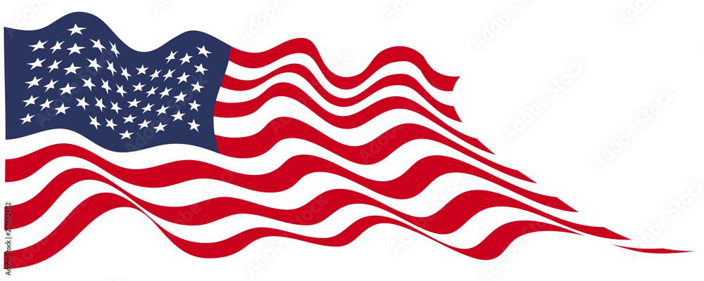 Fototapety, obrazy: USA flag flying on white vector illustration.