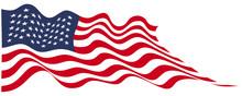 USA Flag Flying On White Vector Illustration.